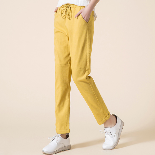 High Waist Drawstring Yellow Pants For Women Fashion Cotton Linen Summer Casual Harem Trousers Plus Size Vintage Pantalon Female