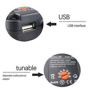 Image 4 - 3 V 12 V Sạc Thông Minh 30W Đa Năng AC/DC Adapter Nguồn AC 110 240V Với 6 Adapter Và Cổng USB 5V 2.1 US/EU/Phích Cắm UK