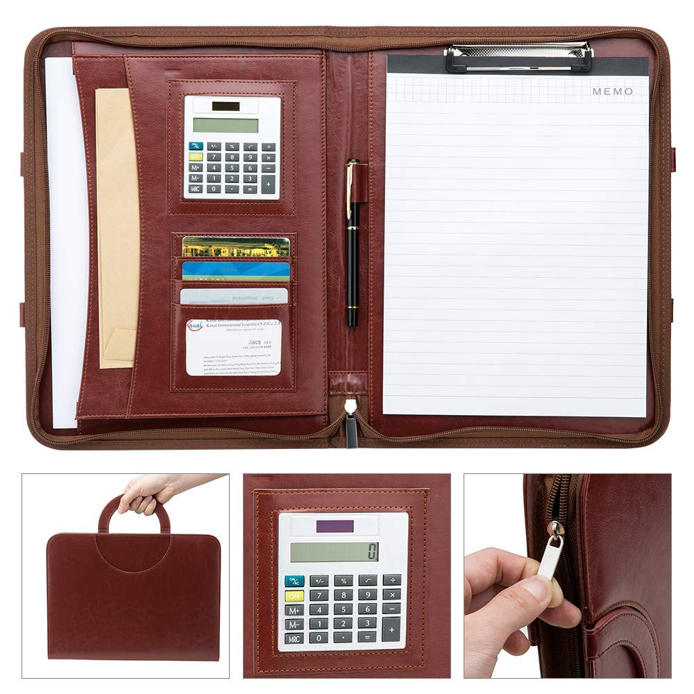 Conference Folder A4 Zipped Leather Portfolios Clipboard Folder Business Documents Case Bag Portfolios Files Holder Writing Pad