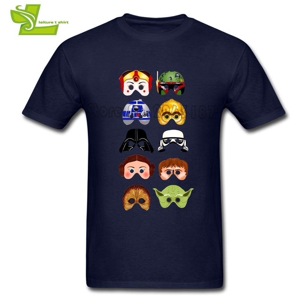 Star Wars Characters R2-D2 DARTH VADER Yoda Chewbacca c-3p0 Boba Fett T Shirt Men 100% C ...