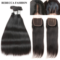 Rebecca Human Hair Bundles With Closure Remy Brazilian Hair Straight 3 Bundles 4x4 Lace Closure Salon