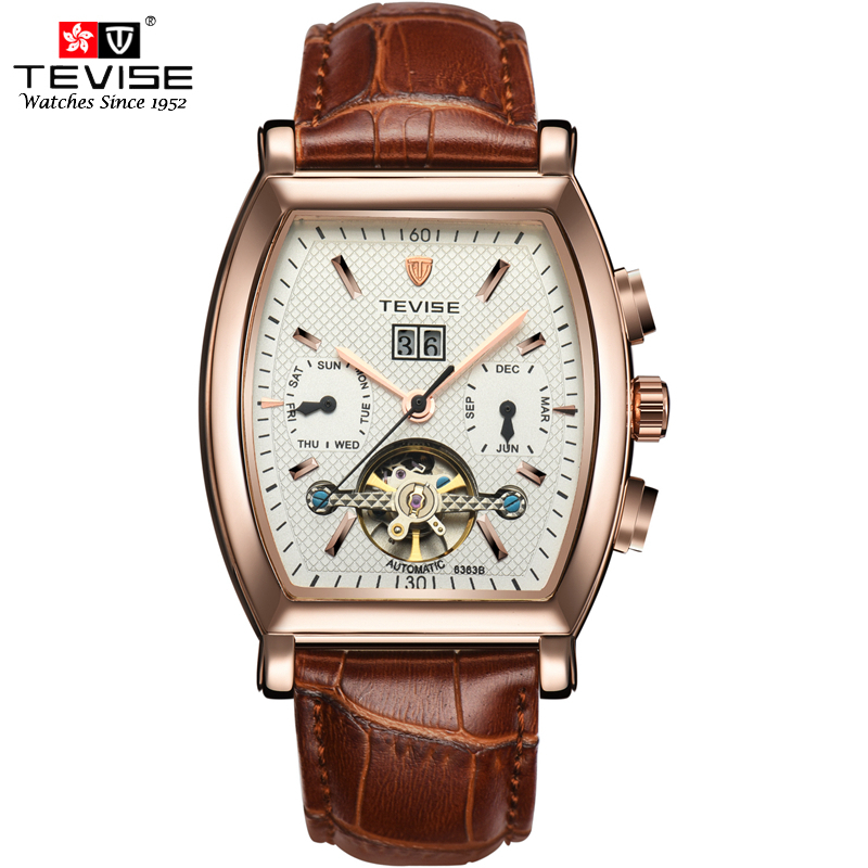 TEVISE Mens Automatic Watch Tonneau Dial Steampunk Tourbillon Watches Mechanical Self Wind Leather Calendar Wristwatches 8383B tevise wristwatches steampunk men s roman number day watch automatic mechanical watches gift box free ship