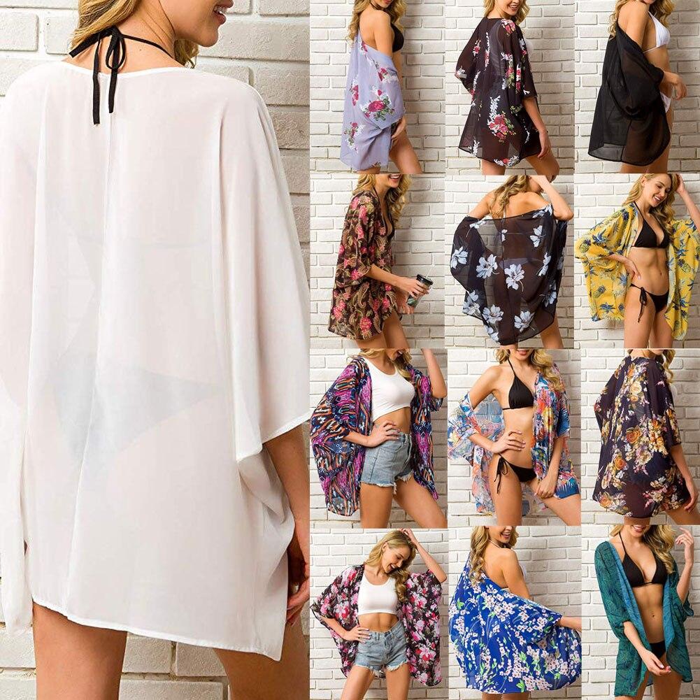2019 Summer Women Chiffon Floral Kimono Beach Cardigan Sheer Cover Up Swimwear Long Blouse Shirts Female Tops(China)