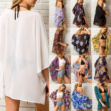 2019 sommer Frauen Chiffon Floral Kimono Strand Strickjacke Sheer Cover Up Bademode Lange Bluse Shirts Weibliche Tops(China)