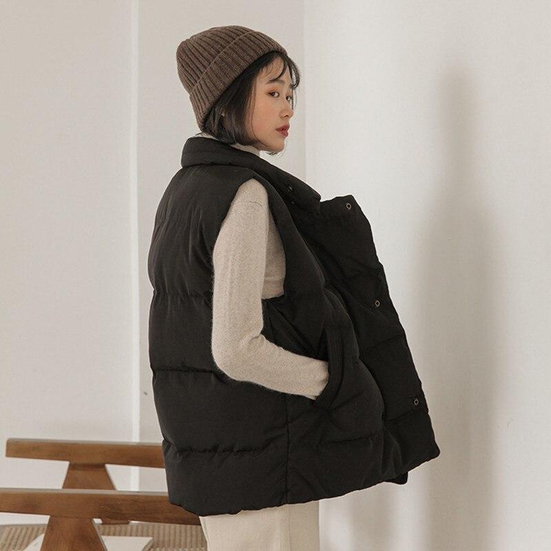 apricot 2018 La Coréenne Version Bas Gilet Hiver Manches Le Yzh661 Mode Vers Veste Col Black De Sans Nouvelle Femelle wvA8qU