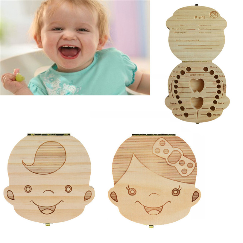French language Tooth Box Organizer for Baby Milk Teeth Save Wood Storage Box for Kids Boy&Girl Collect Lanugo Drop Shipping