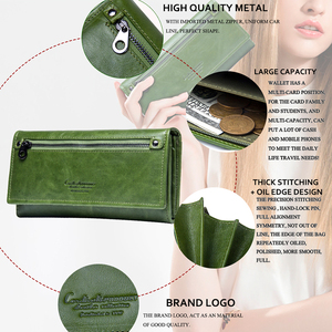 Image 2 - Contacts Genuine Leather Women Wallets Female Long Clutch Photo Holder Wallet Large Capacity Purses With Money Phone Bags