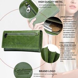 Image 2 - İletişim hakiki deri kadın cüzdan kadın uzun debriyaj fotoğraf tutucu cüzdan büyük kapasiteli çantalar para telefonu çanta