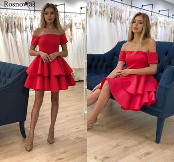 Red Short Graduation Dresses 2020 Off Shoulder Tiered Skirts Stain Prom Party Gowns Vestidos Customized Mini Homecoming Dresses