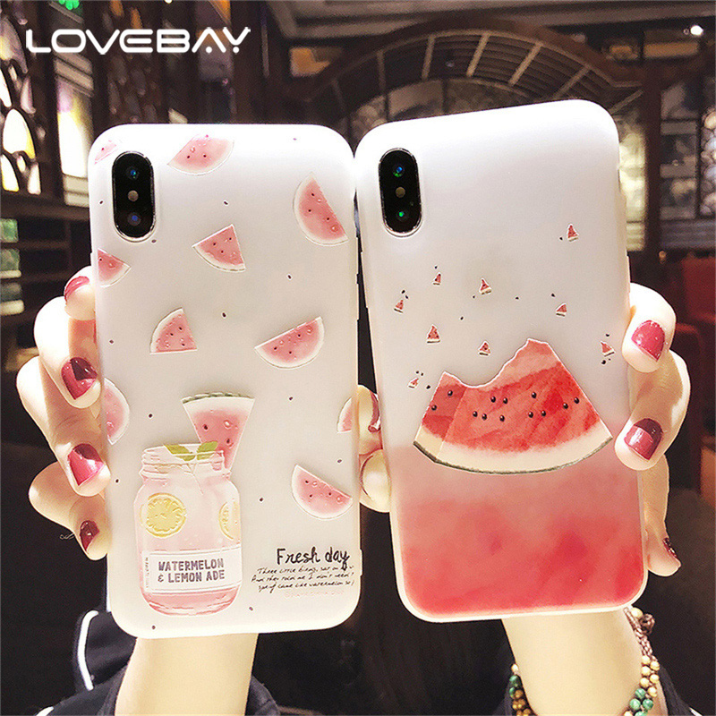 online store 9bc85 e4946 US $1.36 20% OFF|Lovebay Phone Case For iPhone 6 6S 7 8 Plus X Fashion 3D  Relief Flower Flamingo Leaf Cat Dog Watermelon Soft TPU For iPhone 8-in ...