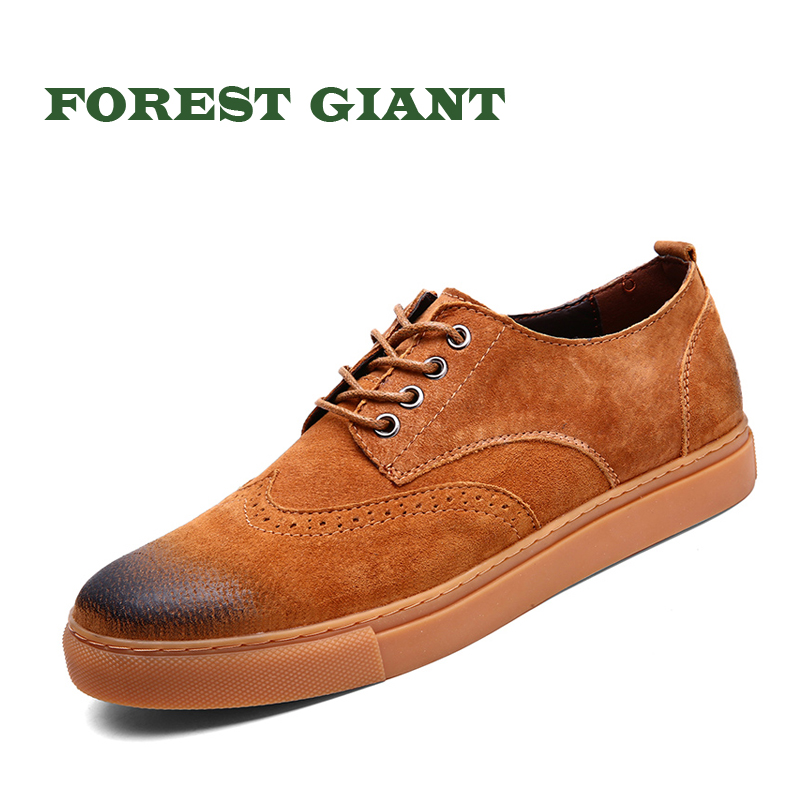 FOREST GIANT Leather Shoes Men Brown Genuine Leather Luxury Design Casual Fashion Brand Men Sneakers Big Size 38-47 1821 men s fashion casual cotton pants brown size 33
