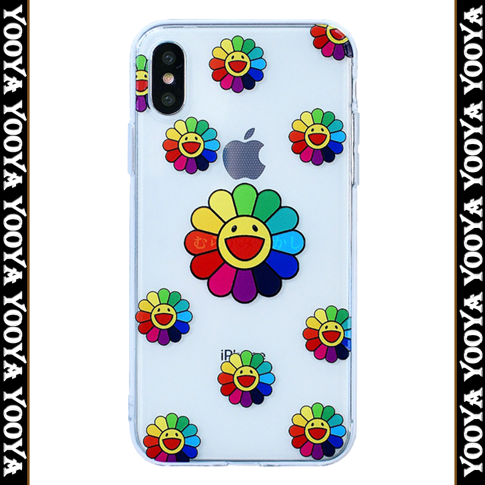 Cute case For iPhone 6 7 7p 8 8plus Sun flower Transparent mobile phone bags for Apple X XS XR xs max soft tpu case in Half wrapped Cases from Cellphones Telecommunications