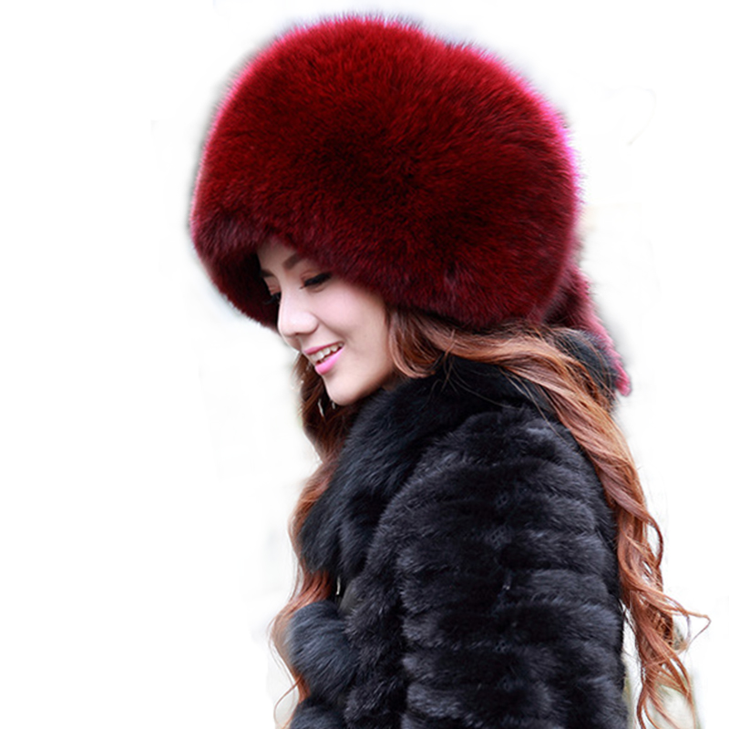Women's hats winter fur beanies a cap Warm whole skin with for women faux fox 2015 brand new thick female