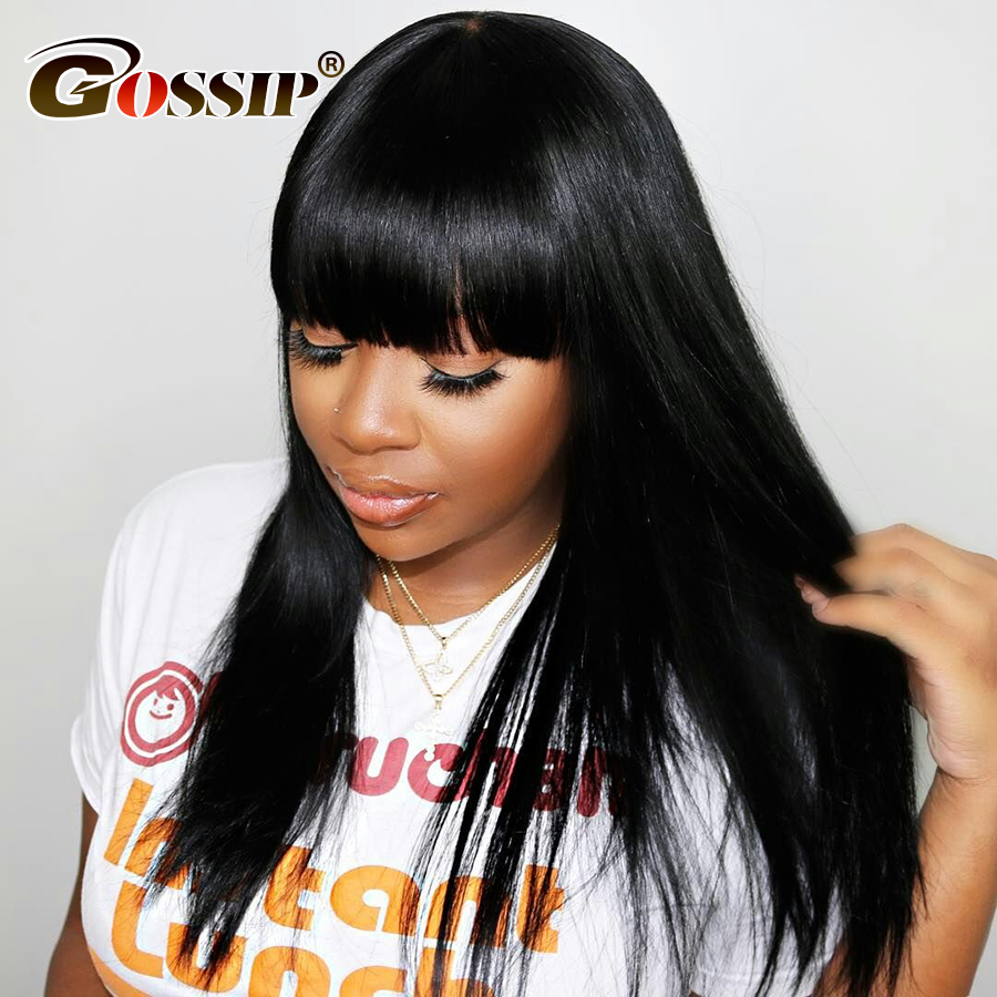 Straight Big Bang Wig Human Hair 13x4 Lace Front Wig Brazilian Wigs Remy Hair Glueless Lace Wigs For Black Women Gossip