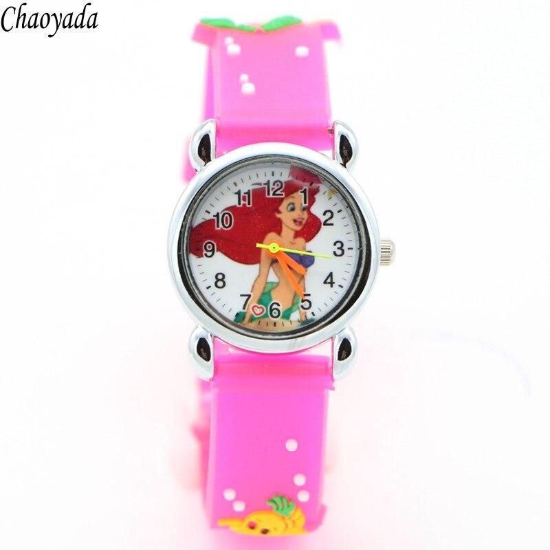 3D Cartoon Lovely Kids Girls Boys Children Students Quartz Wrist Watch Very Popular Watches Mermaid Style