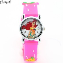 3D Cartoon Lovely Kids Girls Boys Children Students Quartz Wrist Watch Very Popular watches mermaid style
