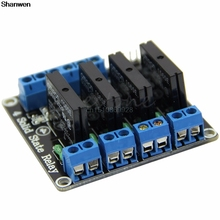 Big discount 1pc 5V DC 4 Channel SSR Solid-State Relay 2A module High Level for arduino