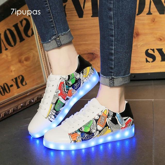 7 ipupas Новый Superstar унисекс светодиодные кроссовки граффити живопись  светящиеся светодиодные обуви малыш загорается подзаряжаемой мальчиков c2a40dc2ae8e6