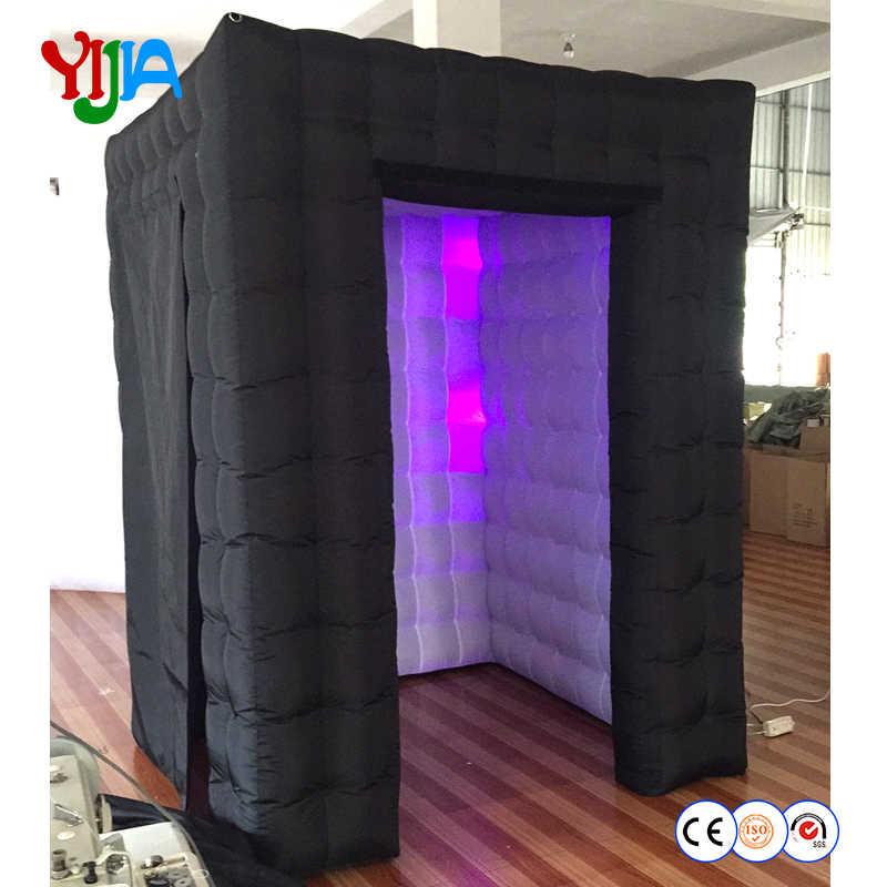 High Quality Nice Price 6*6*7.3ft Inflatable Cabin LED Inflatable Photo Booth Portable Backdrop for Wedding Party