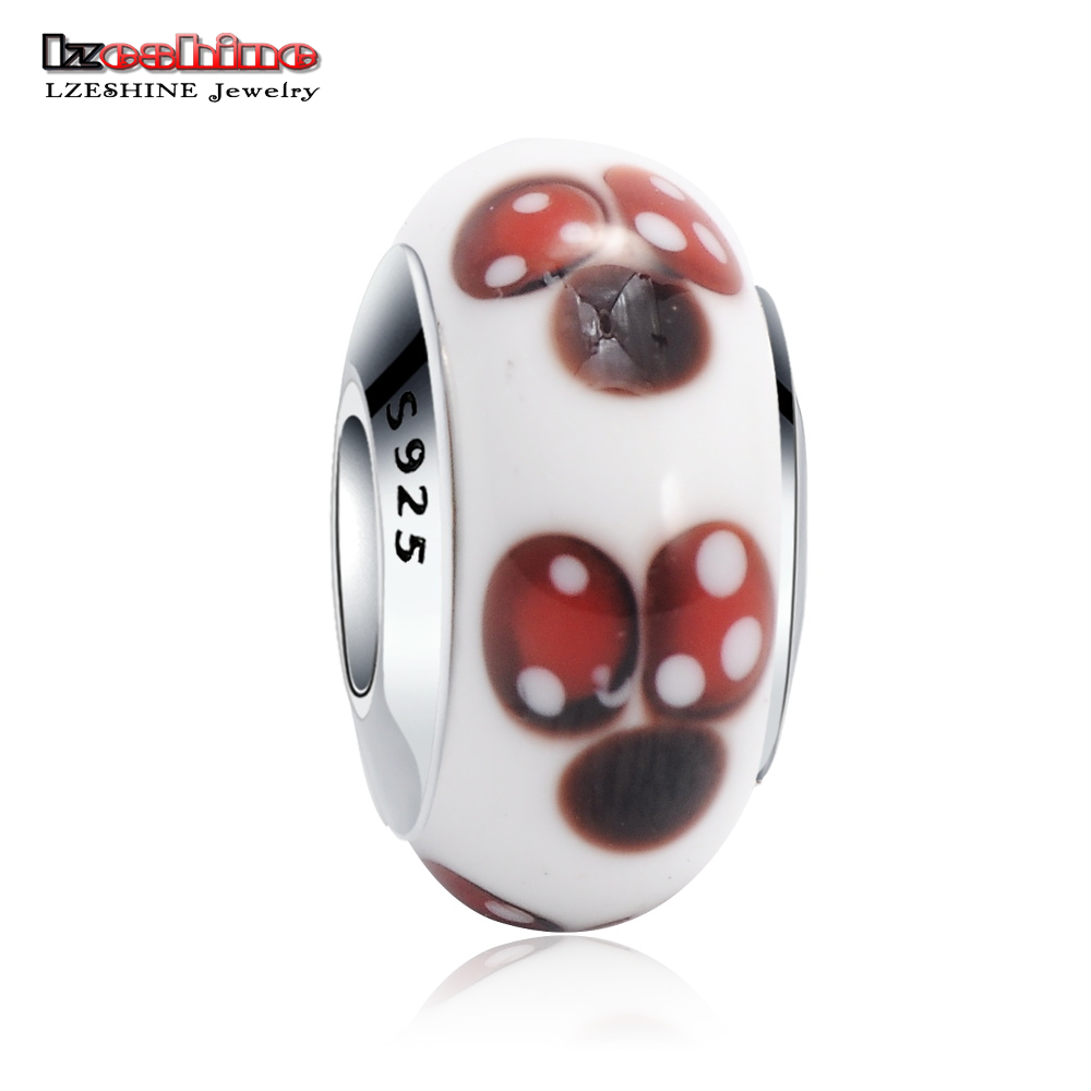 LZESHINE New 925 Sterling Silver Murano Glass Beads Charm Fit Original Bracelet Lovely Miki Jewelry For Child Gift PSGB0075