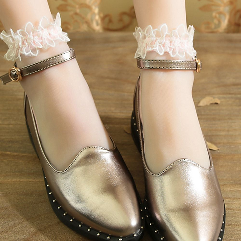 1Pair Fashion Women's Lace Flower Anklet Socks Ultrathin Transparent Crystal Elastic Short Hosiery,6 Colors Available