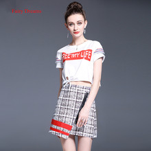 Fairy Dreams 2 Piece Set Women Letter White T Shirt Croped Tops And Plaid Skirt Suits The Feminine 2017 Summer Fashion Clothing