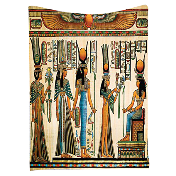 Egyptian Decor Collection Egyptian Papyrus Depicting Queen Nefertari Making An Offering To Isis Picture Wall Hanging Tapestry O