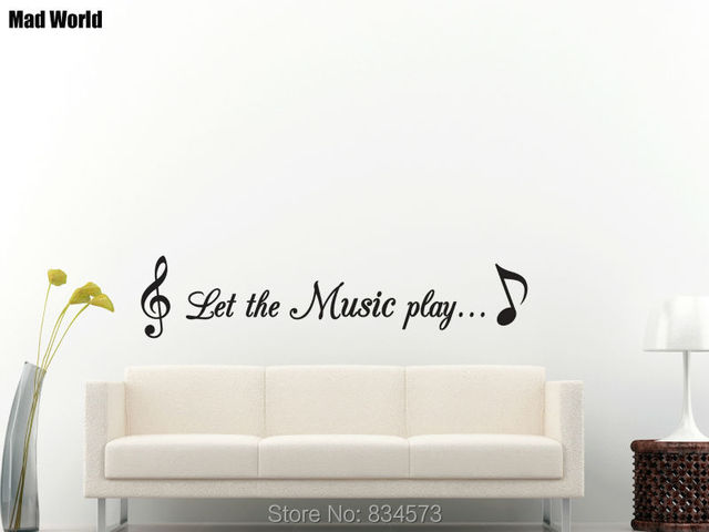 Mad World Let The Music Notes Quote Play Songs Wall Art Stickers Wall Decal  Home