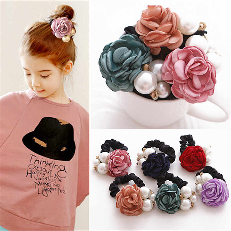 AKWZMLY 2017 1PC Women Girls Elastic Hair Bands Rose Flower Crystal Headbands Ribbon Cloth Big Pearls Children Hair Accessory