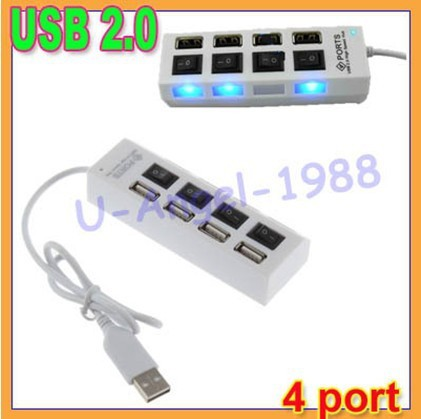 Free shipping+5pcs/lot 4 Port Tap USB 2.0 Power On/Off Sharing Switch LED Hub for PC Laptop Notebook