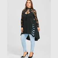 CharMma 2018 New Fashion Plus Size 5XL Lace Long Sleeve Long Shirt Women Autumn Gothic Trim