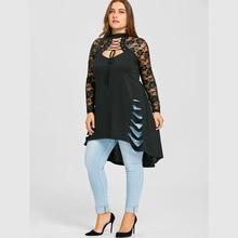 CharMma 2018 New Fashion Plus Size 5XL Lace Long Sleeve Long Shirt Women Autumn Gothic Trim Ripped Tunic Top Female Big Size