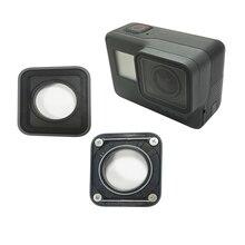 Substituição da lente da câmera para gopro hero 5 proteção len peças de reparo vidro para gopro 5 preto moldura alumínio