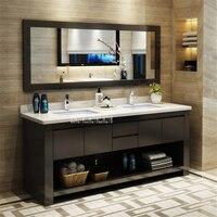 1818 Bathroom Vanities Solid Wood Bathroom Cabinet Combination Wash Basin Cabinet Rubber Wood Vanity Cabinet With Double Basin