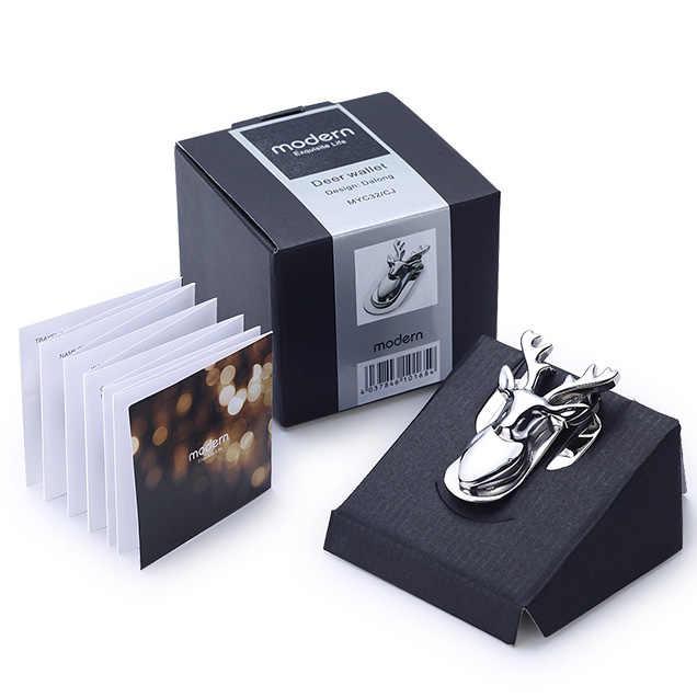 Современный бренд, новинка 2016, голова оленя, зажим из нержавеющей стали, Тонкий Карманный кошелек, держатель для денег, органайзер для карт, мужской и женский кошелек
