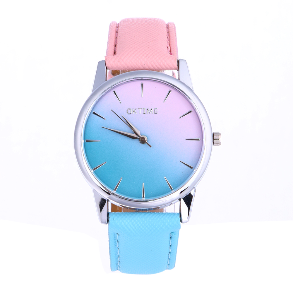 OKTIME New Gradient Color Embossed Leather Belt Rainbow Sugar Color Simple Women Quartz Watch, Two-Color Strap Fresh Color Watch the new mitch mouse polishing treatment of color sugar slice color bead cake decorated sugar export quality special