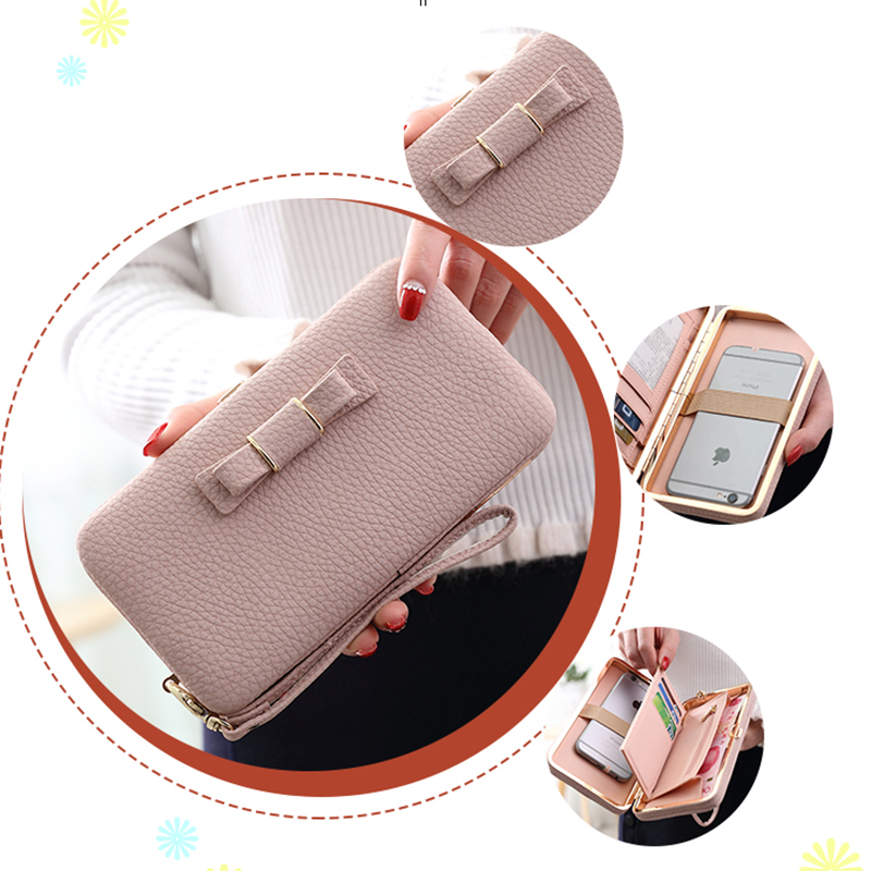 Multifunction Women Phone Wallet Case Leather Bag For iPhone 6 6S 7 7 PLUS Samsung Xiaomi