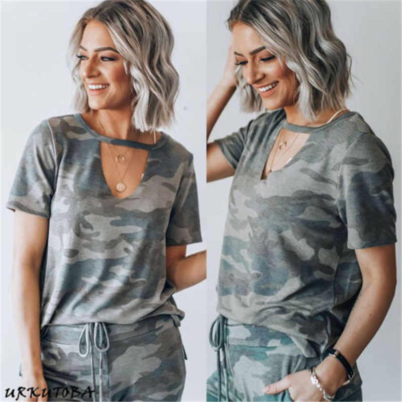 Kamuflaż drukuj kobiety krótkim rękawem Slim koszulka kobiety mody V-Neck Lace-Up Sexy topy pani armia styl na co dzień kobiet tshirt Tee