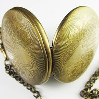 old !!!100% Brass Antique Moonphase Mechanical Pocket Watch freeship