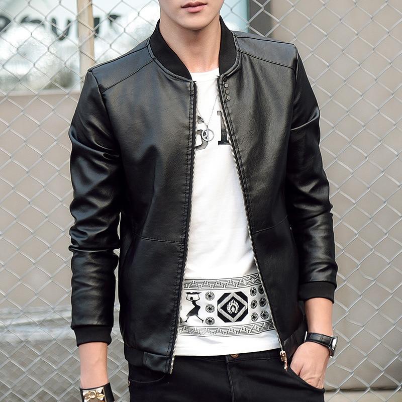 Bomber Jacket Men Autumn Winter Leather Coat Baseball Jacket Slim Fit Leather Jackets Fashion Casual Outwear For Man Jacket 2019