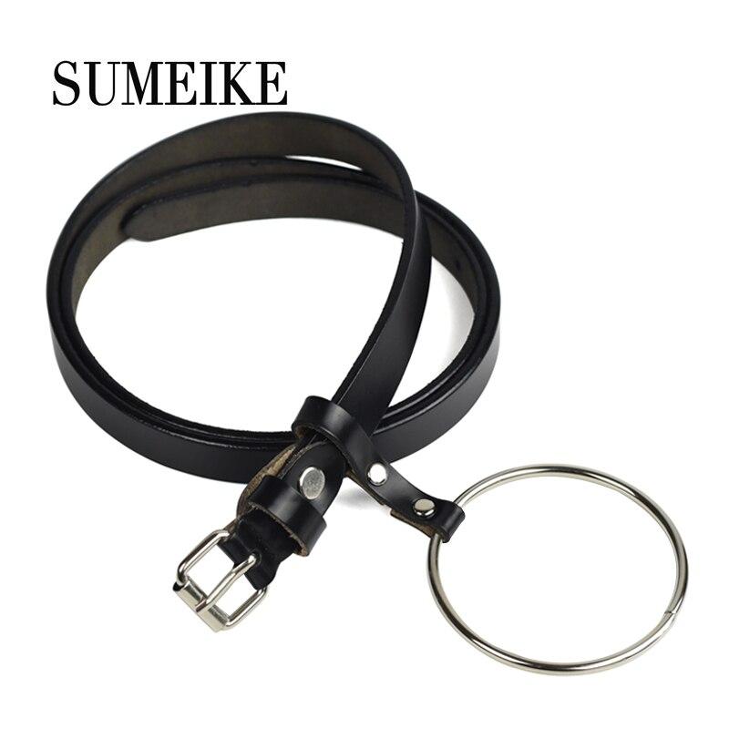 [SUMEIKE] Cinturón de cuero genuino Moda femenina Círculo redondo de metal Cinturones finos para mujeres