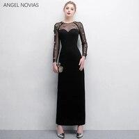 Черные формальные женские арабское вечернее платье с длинными рукавами 2018 Дубай Блестящие кристаллы вечерние платья Vestido Formatura Longo