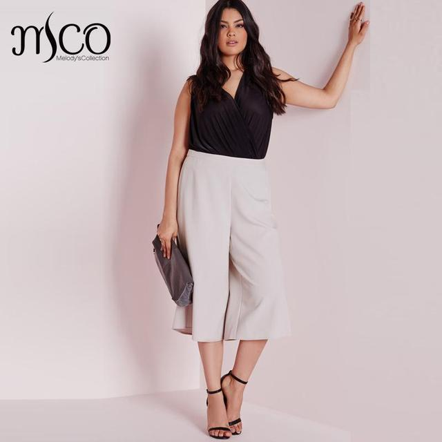 c44876c1a59 Fashion High Waist Crop Palazzo Elegant Culotte Classic Office Women Suit  Pants Basic Plus Size Chiffon Wide Leg Trouser 5xl 6xl