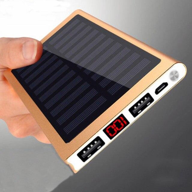 Солнечный 30000 мАч внешний аккумулятор 2 USB светодио дный power Bank портативный мобильный телефон солнечное зарядное устройство для Xiaomi Mi iphone XS 8 plus