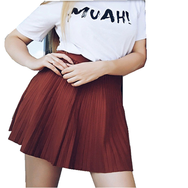 New Women s pleated mini skirt Fashionable elegant Autumn Winter knitted skirt solid color with elastic
