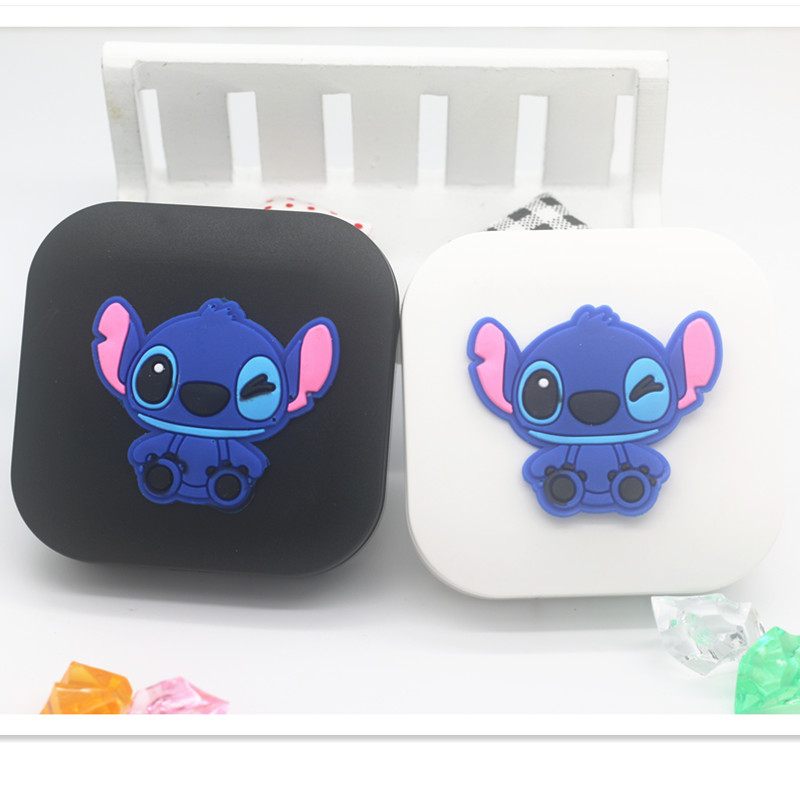 LIUSVENTINA 2018 New Soft Rubber Cartoon Stitch Contact Lens Case With Mirror Box Container For Contact Lens Gift For Girls