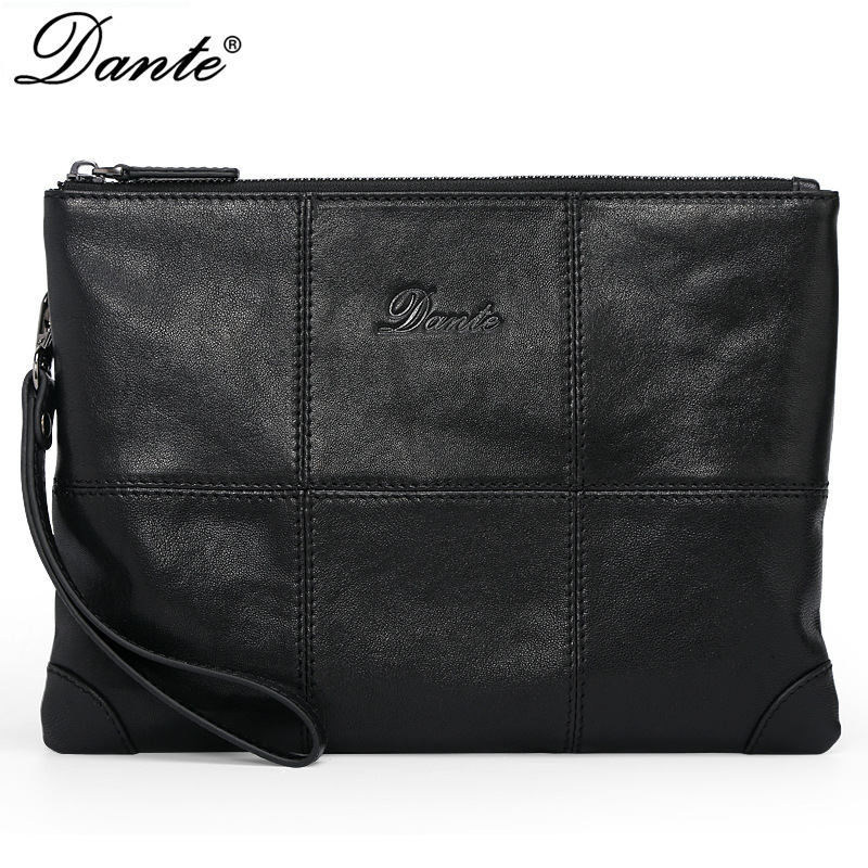 DANTE fashion luxury genuine leather bag brand handbag business men clutch bag slim envelope bag цена