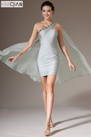 Новое серое бисерное на одно плечо серое шифоновое вечернее платье коктейльное платье