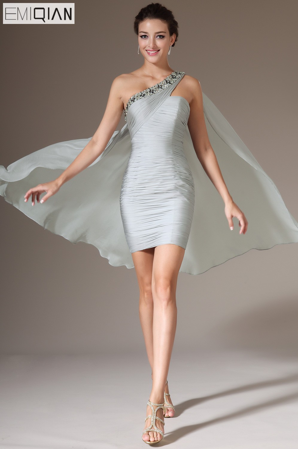 New Grey Beaded One Shoulder Gray Chiffon Party Gown   Cocktail     Dress