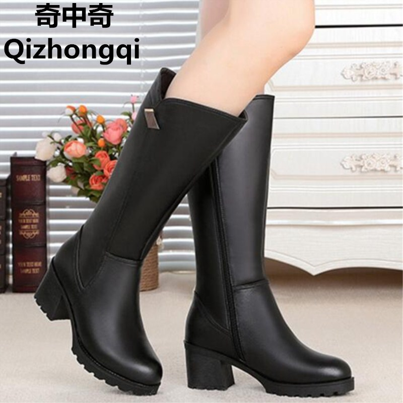 2017 winter new genuine leather women boots thick with Gaotong women s motorcycle boots Large size
